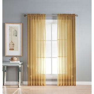 Window Elements Diamond Sheer Voile 56 x 95 in. Rod Pocket Curtain Panel - 56 x 95 (Option: Gold)