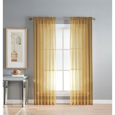 Window Elements Diamond Sheer Voile 56 x 95 in. Rod Pocket Curtain Panel - 56 x 95 - 56 x 95