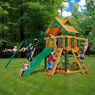 Gorilla Playsets Chateau Cedar Swing Set with Timber Shield Posts