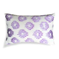 Purple and White Cotton 14-inch x 20-inch Embroidered Ikat Decorative Throw Pillow