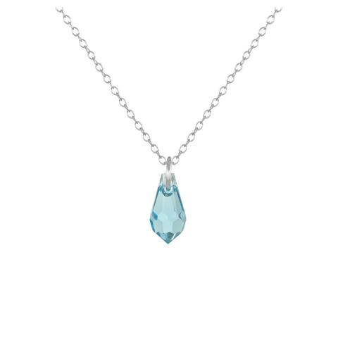 Handmade Jewelry by Dawn Small Aquamarine Blue Crystal Teardrop Sterling Silver Cable Chain Necklace (USA)