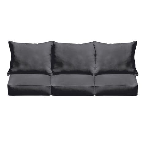 Sloane Black Indoor/ Outdoor Corded Cushion and Pillow Sofa Set