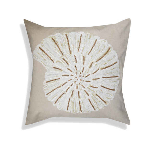 A1HC Organzza Embellished Shell Coastal Off-white Cotton 20-inch x 20-inch Decorative Throw Pillow