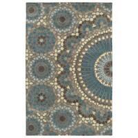 Hand-Tufted Lola Mosaic Teal Wool Rug - 9'6 x 13'