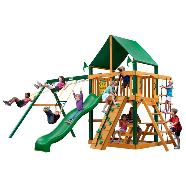 Gorilla Playsets Chateau w/ Timber Shield and Deluxe Green Vinyl Canopy