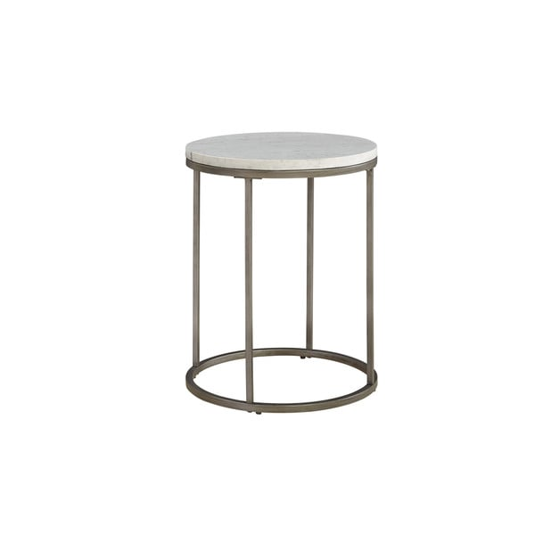 COntemporary Alana White Marble Round Accent Table
