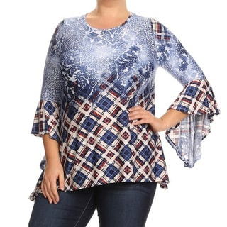 Women's Blue Abstract Print Plus-size Tunic