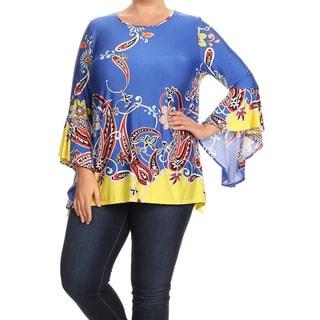 Women's Royal Blue Plus-size Abstract Print Tunic