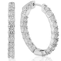 14k White Gold 3.79 ct TDW Diamond Inside Outside Hoops (F-G,SI1-SI2)