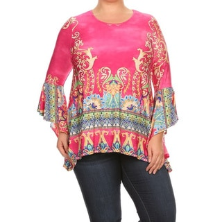 Women's Multicolored Polyester and Spandex Plus-size Tapestry Tunic