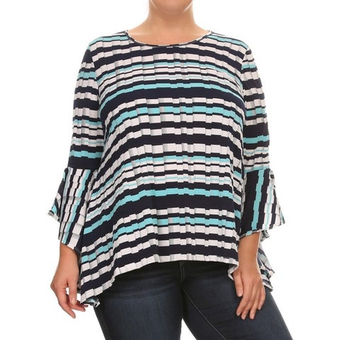 Women's Striped Plus-size Faux Pleated Tunic