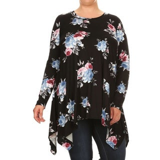 Women's Multicolored Rayon and Spandex Plus-size Rose-pattern Tunic