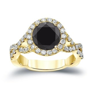 Auriya 14k Gold 2 3/4ct TDW Infinity Halo Black Diamond Engagement Ring