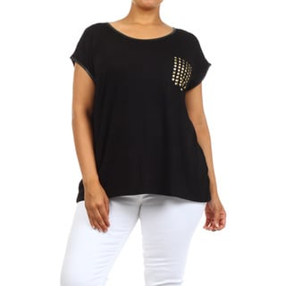 Women's Plus-size Black Tunic with Studded Pocket