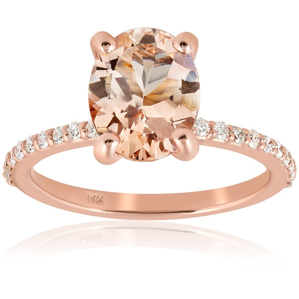 Smart Diamond Morganite Fine Unique Solid 14k Rose Gold Wedding Ring Heart Shape A Great Variety Of Goods Fine Rings Jewelry & Watches