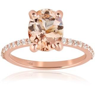 14K Rose Gold 2 1/10 ct TW Morganite & Diamond Engagement Ring (I-J,I2-I3)