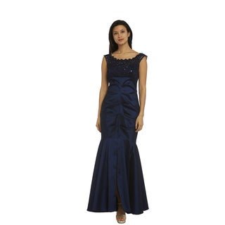 R and M Richards Women's Blue Lace Evening Gown