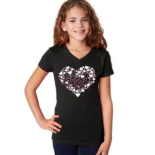 Girls' Love Black Cotton Short-sleeve T-shirt