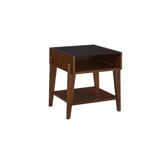 Contemporary Ash finish Travis Glass-top End Table