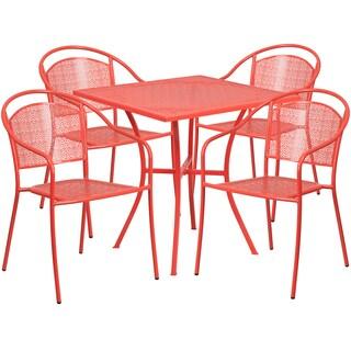 Kalev 5-Piece Artistic Designed Red Bistro Set