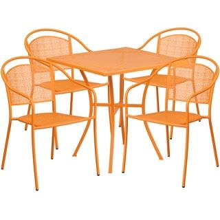 Kalev 5-Piece Artistic Designed Orange Bistro Set
