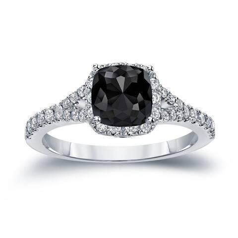 Auriya 14k Gold 1 1/2ctw Cushion-cut Black Diamond Halo Engagement Ring