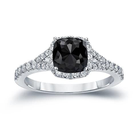 Auriya 14k Gold 1 1/2ctw Cushion-cut Halo Black Diamond Engagement Ring