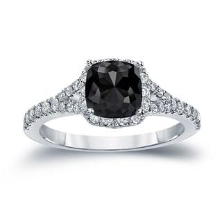 Auriya 14k Gold 1 1/2ct TDW Cushion-Cut Black Diamond Halo Engagement Ring (Black)