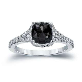 Auriya 14k Gold 1 1/2ct TDW Cushion-Cut Black Diamond Halo Engagement Ring (Black)|https://ak1.ostkcdn.com/images/products/14271588/P20857880.jpg?impolicy=medium