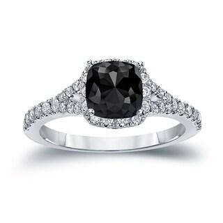 14k Gold 1 1/2ct TDW Cushion-Cut Black Diamond Halo Engagement Ring by Auriya