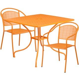 Kalev 3-Piece Artistic Designed Orange Large Bistro Set