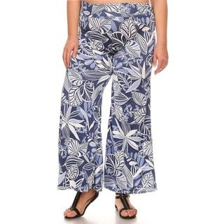 Women's Blue Spandex Blend Plus Size Mixed Leaf Pattern Pants