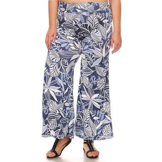 Women's Blue Spandex Blend Plus Size Mixed Leaf Pattern Pants