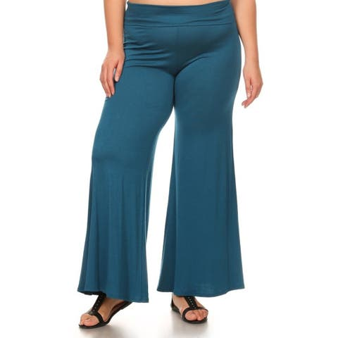 Women's Solid Teal Rayon and Spandex Plus-size Pants