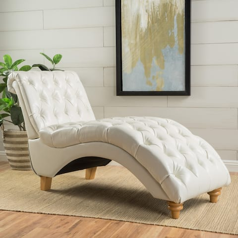 Rhodes Contemporary Tufted Leather Chaise with Scrolled Backrest by Christopher Knight Home