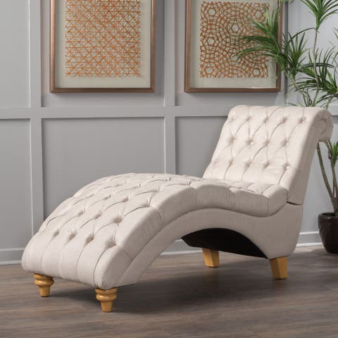 Rhodes Contemporary Tufted Fabric Chaise with Scrolled Backrest by Christopher Knight Home