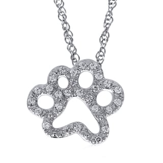 ASPCA® Tender Voices Diamond Accent Paw Print Pendant in Sterling Silver