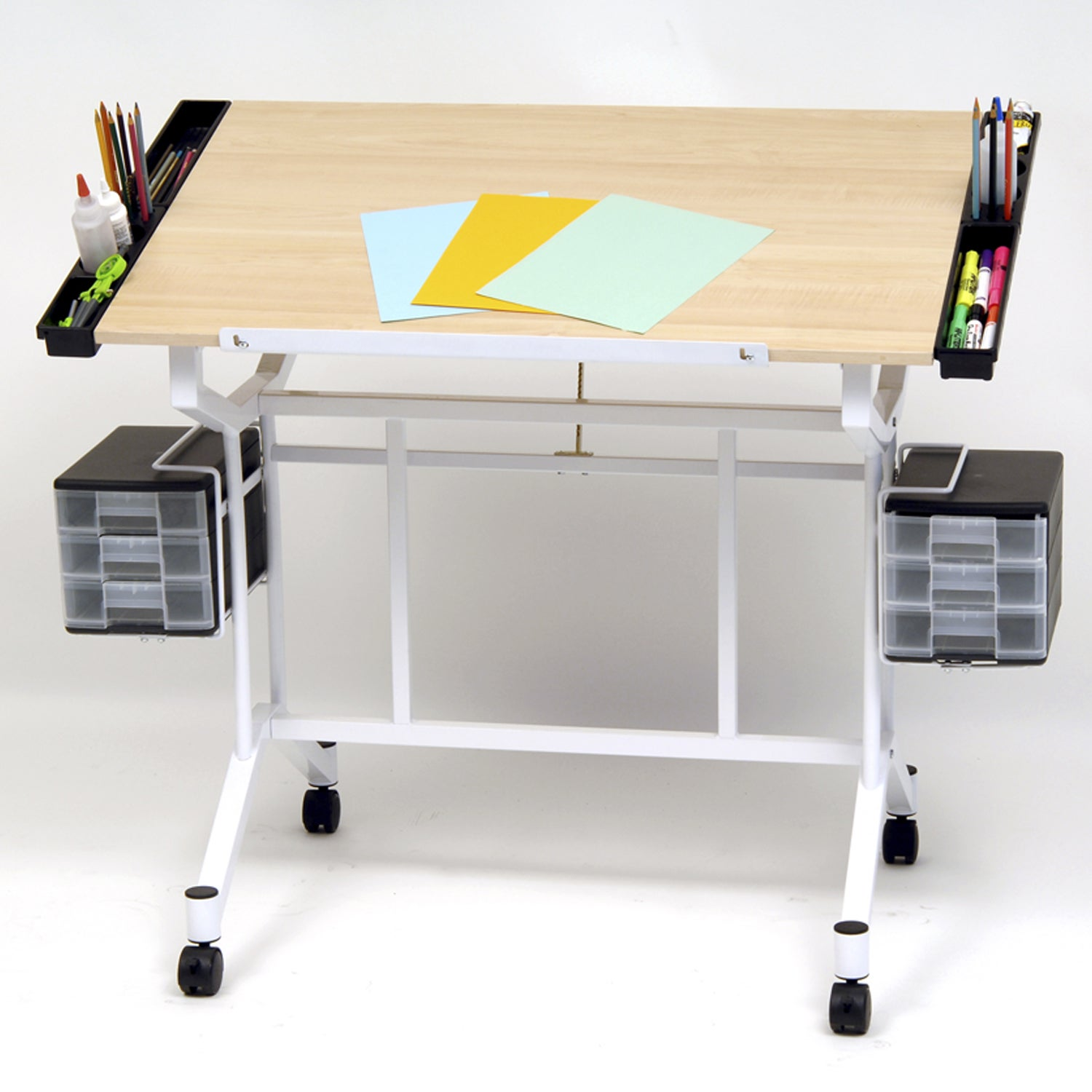 Offex Pro White and Maple-finish Drafting Hobby And Craft...