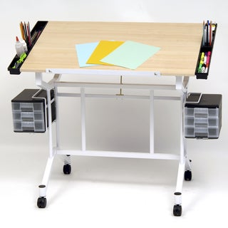 Offex Pro White and Maple-finish Drafting Hobby And Craft Table