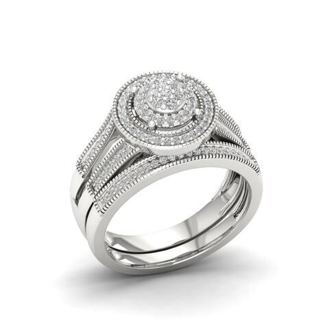 1/3ct TDW IGI Certified Diamond Halo Bridal Set in Sterling Silver - White