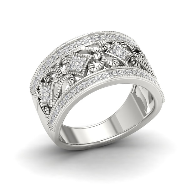 IGI Certified 1/3ct TDW Diamond Vintage Style Ring in Sterling Silver - White