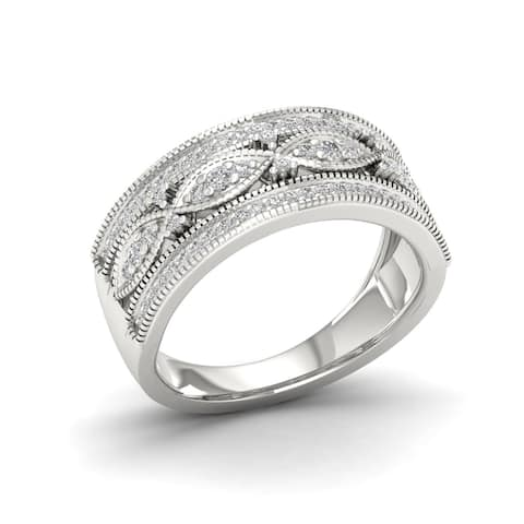 IGI Certified 1/3ct TDW Diamond Vintage Style Ring in Sterling Silver