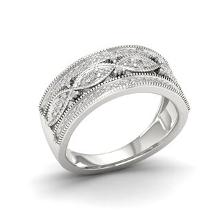 1/3ct TDW Diamond Vintage Style Ring in Sterling Silver - White