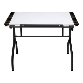 Offex Black and White Metal Folding Craft Station