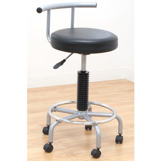 Offex Futura Silver-tone and Black Steel Pneumatic Gas-lift Stool