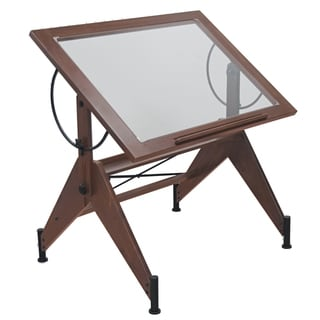 Offex Aries Dark Walnut/Black Glass Top Drafting Table