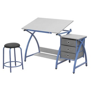 Offex Comet Blue and Spatter Grey Steel Work Center With Stool