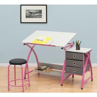 Offex Comet Pink and Spatter Grey Steel Work Center With Stool