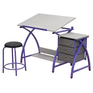Offex Purple/Grey Steel Comet Center with Stool