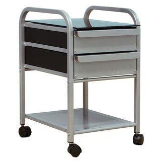 Offex Futura Vision Silver/Blue Glass Steel Slide Out Drawer Organizer with Casters